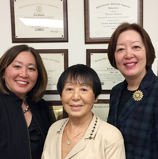 Court Reporting Services staff Linda Fifield, Doris Wong, and Connie Psarod